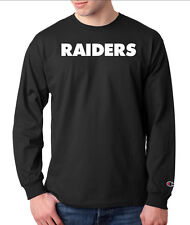 Oakland Raiders Script Logo Champion LONG SLEEVE T-Shirt Tagless Tee New Black
