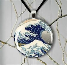 SEA WAVE KANAGAWA ASIAN STYLE PENDANT NECKLACE -dfg0Z
