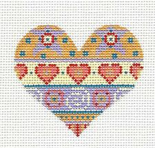 *NEW* Heart with ribbon of Hearts handpainted Needlepoint Canvas by Danji Design