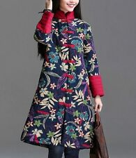 NEW Women's Vintage Flower Chinese Manual Qipao Button Linen Quilted Jacket Coat