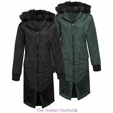 Womens Ladies Maxi Length Parka Fur Detachable Hooded Jacket Padded Coat