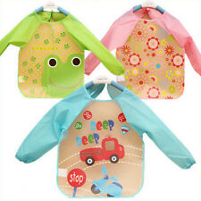 New Baby Toddler Coverall Bib Apron With Cute Animals And Waterproof Backing TO