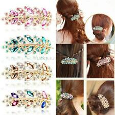 Women Girls Crystal Rhinestone Flower Barrette Hair Clip Clamp Hairpin Jewelry