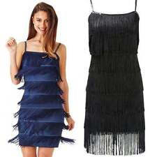 1920's Style Gatsby Black Dark Blue Flapper Fringe Party Dress Size 10 12 14