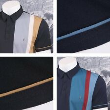 Gabicci Vintage Mod Retro 60's Racing Stripe Panel S/S Polo Shirt