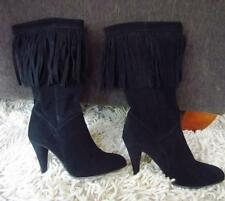 Womens N.Y.L.A. 'Ridge' Suede Mid-Calf Fringed Boots Black Size 9M EUC