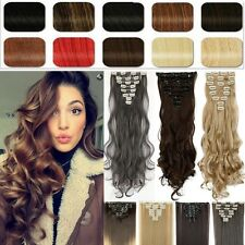 Premium Real Thick full head clip in hair extensions Wavy Straigh hair piece TG2