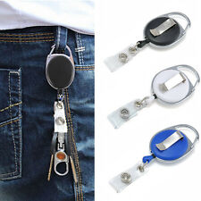 Retractable Reel Recoil ID Badge Lanyard Name Tag Key Card Holder Belt Clip hp