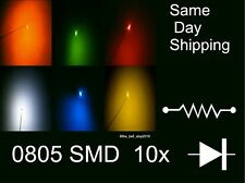 10x 0805 SMD LEDs Train, Xbox, RC Cars Red Orange Blue Green Yellow White Pink