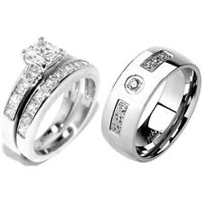 3 PCS Stainless Steel His 7 CZs Band /Hers Princess Cut CZ Engagement Ring Set