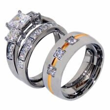 3 PCS His 3 Clear CZs Band w/ gold stripe /Hers Princess CZ Wedding Ring Set