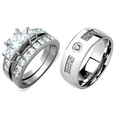3 PCS Stainless Steel Hers Princess Cut CZ Wedding Ring/His 7 Round CZs Band