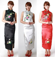 Traditional Chinese Women's Silk Satin Long Evening Dress Embroidery Cheongsam