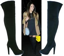 WOMENS LADIES SEXY PLATFORM OVER THE KNEE THIGH HIGH SOFT SUEDE HIGH HEEL THIGH