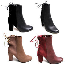 Womens Ladies Lace Back Ankle Boots Shoes Suede Faux Leather Block High Heel Zip