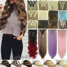 Women Clip in Hair Extensions 8 Piece With 18clips Extra Thick Long as Human Tk3