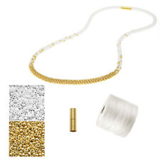 Refill Long Beaded Kumihimo Necklace White & Gold Exclusive Beadaholique Kit