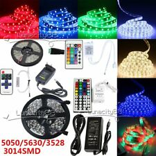 3528 5050 5630 SMD Flexible LED Strip Rope Tape Xmas Lights Control Power 12V