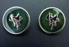 Vintage Silvertone Green Enamel & Western Horse Saddle Earrings