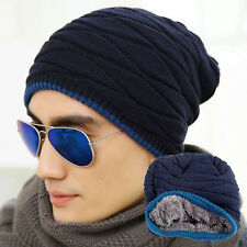 Men Crochet Knit Plicate Baggy Beanie Wool Hat Skull Winter Warm Unisex Chic Cap