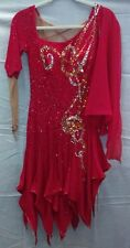 Vintage red sequined silver gold ballroom dance competition dress