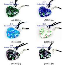g616m88 Lady Love Heart Dichroic Murano Lampwork Glass dangle Pendant Necklace