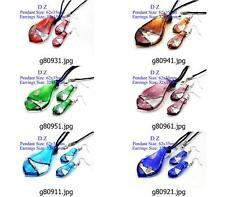 g809m41 Stylish Leaf Bead Murano Lampwork Glass Pendant Necklace Earrings set