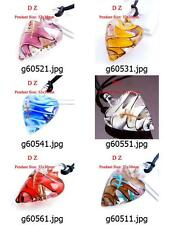 g605m11 1pcs Swirl Heart Flower Murano Lampwork Glass Bead Pendant Necklace Cord