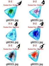 g603m97 Lady's Triangle Flower Murano Lampwork Glass Bead Pendant Cord Necklace