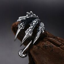 Vintage Silver Stainless Steel Dragon Claw Finger Ring Unisex Men Women #8/9/10