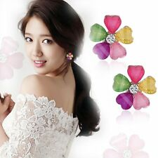 Sweet Heart Flower Earrings Crystal Rhinestone Love Ear Studs Women Ladies Gifts