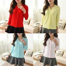 Women Casual SlimFit Solid Long Sleeve V-Neck Front Button Down Cardigan Sweater