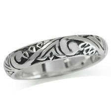 4MM 925 Sterling Silver VICTORIAN STYLE FILIGREE Band Ring
