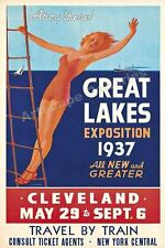 1937 Travel Poster - Great Lakes Exposition Vintage Style Travel Poster - 16x24