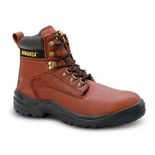 """Mens Brown 6"""" PU Injected Leather Work Steel Toe Boots BAT-618 Size 6-12 (D, M)"""