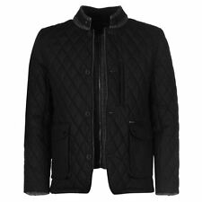 Firetrap Mens Quilted Jacket Cotton Funnel Neck Button Front and Zip Top Coat