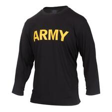 Rothco Long Sleeve Army PT Shirt, Physical Training Military T-Shirt, Black