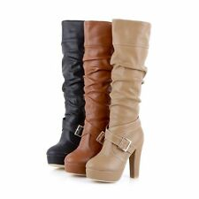 New Womens Lady PU Leather High Heel Platform  Buckle Pleated Knee High Boots