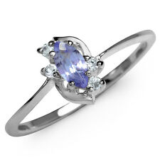 Genuine Tanzanite & White CZ Gold Plated 925 Sterling Silver Ring