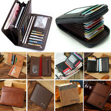 Bifold Wallet ID Credit Card Holder Men's Genuine Leather Mini Purse Money Clip