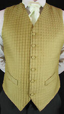 WC2060 Mens Gold Pattern Wedding Suit Waistcoat 42""