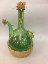 Vintage Italian Green Glass Wine Bottle Decanter, Ice Chamber, Straw Stoppers
