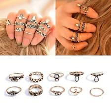 10Pcs Unisex Vintage Gold Silver Carved Crystal Moon Midi Knuckle Ring Fashion H