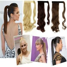 Real Natural Clip In Ponytail Hair Extensions Long Curly Straight As Human Tmp