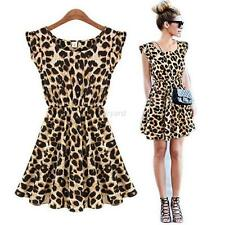 Women's Vouge Leopard Dress Sleeveless Casual Coctail Party Evenning Mini Dress