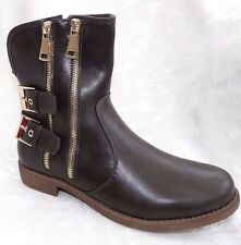 NEW FASHION WOMENS BROWN GREY ANKLE BIKER WORKER MILITARY BOOTS SIZE 5  /ZH19
