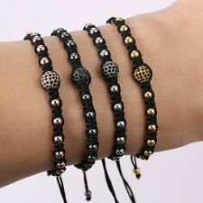 Fashion Women Mens Boy Bangle Jewelry 18k Pave CZ Beads Macrame Charms Bracelet