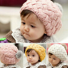 Cute Baby Girls Toddler Winter Warm Kids Knitted Crochet Beanie Hat Beret Cap