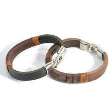 Surfer Handmade Mens Vintage Hemp Wrap Leather Bangle Bracelet Cuff Wristband