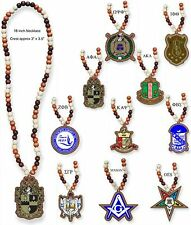"Greek Or Mason Wood Bead Tiki Crest Decal Necklace [18"" x 3"" x 3""]"